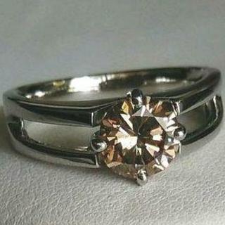 【激安】天然ダイアモンド1ct1粒石リングPt900 ブラウン本物!おまけ!(リング(指輪))