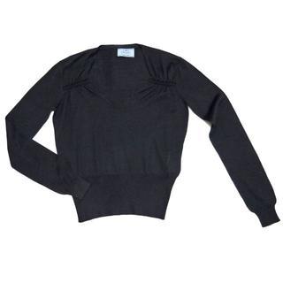 プラダ(PRADA)のプラダPRADAシルク混 深Vネックセーター 黒 #38(ニット/セーター)