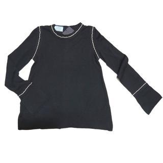 プラダ(PRADA)のプラダPRADAシルク混 ステッチが上品Aラインセーター黒#40(ニット/セーター)