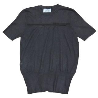 プラダ(PRADA)のプラダPRADAシルク混 半袖セーター ネイビー#38 リボン(ニット/セーター)