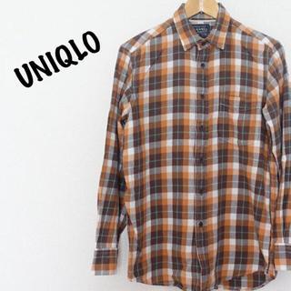 UNIQLO ネルシャツ チェック ブラウン オレンジ(シャツ)