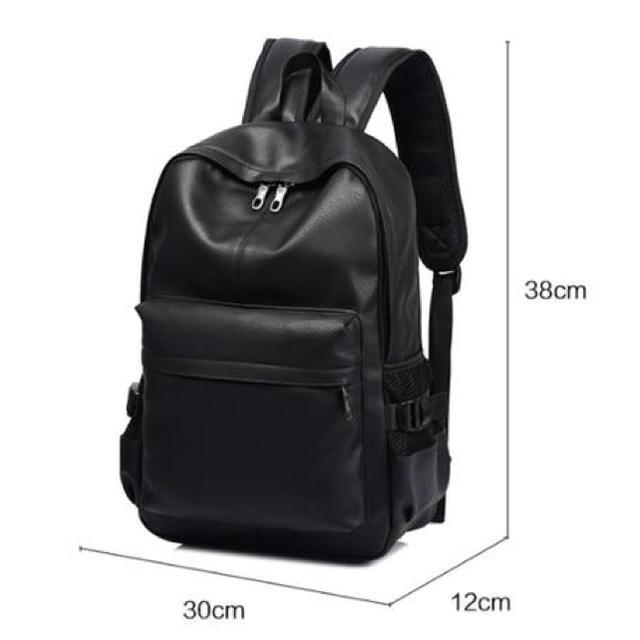 リュック メンズ ファッション 黒 通学 PUレザー 大容量 バックパック メンズのバッグ(バッグ