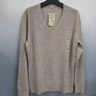 ムジルシリョウヒン(MUJI (無印良品))の新品 無印良品 ウールシルクVネックセーター・オートミール・XL(ニット/セーター)