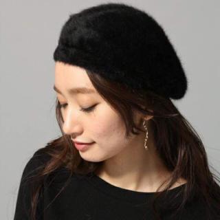 ジーナシス(JEANASIS)の新品タグ付 ジーナシス★アンゴラコンニットベレー ブラック(ハンチング/ベレー帽)