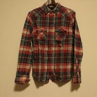 クリフメイヤー(KRIFF MAYER)のチェックシャツ.長袖.送料無料.ほぼ未使用.赤.Lsize.メンズ.シャツ(シャツ)