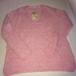 ムジルシリョウヒン(MUJI (無印良品))の無印良品 オーガニックコットン畦編みセーター、ピンク サイズL(ニット/セーター)