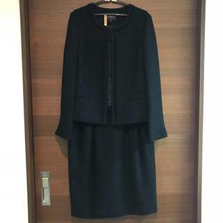デミルクスビームス(Demi-Luxe BEAMS)のDemi-Luxe BEAMS ラメツイード ジャケット&スカート 38 濃紺(スーツ)