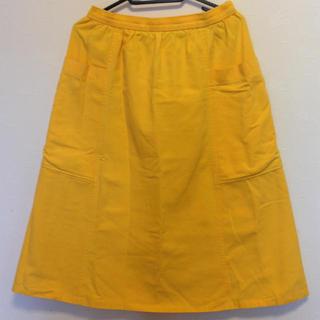 古着80'sイエロースカート(ひざ丈スカート)