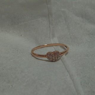 K10 ピンクゴールド ハートダイヤモンドリング(リング(指輪))
