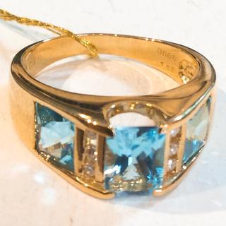 K18 天然 アクアマリン ダイヤモンド リング(リング(指輪))