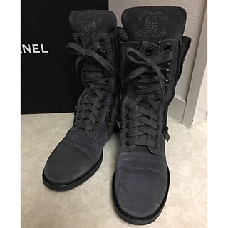 シャネル(CHANEL)の♥︎シャネル ブーツ レースアップ エンジニア 38☆美品(ブーツ)