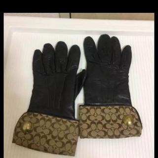 コーチ(COACH)の本物コーチCOACHのブラウンベージュ系シグネイチャーのレザーグローブ(手袋)
