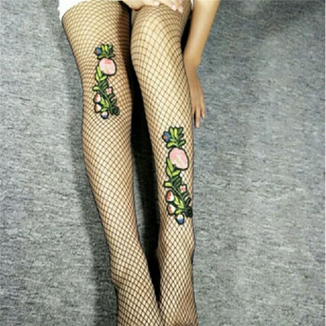 花刺繍網タイツB レディースのレッグウェア(タイツ/ストッキング)の商品写真