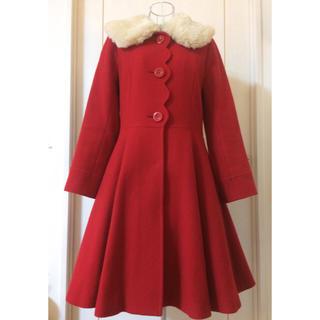 エミリーテンプルキュート(Emily Temple cute)のファー襟付きフロントスカラップコート(レッド)(ピーコート)