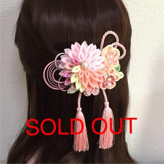 ♯156 半くす ちりめん髪飾り/3個セット 淡いピンク系(ヘアアクセサリー)