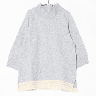プティマイン(petit main)のpetit main 裾フリンジ ハイネック裏毛ワンピ(ワンピース)