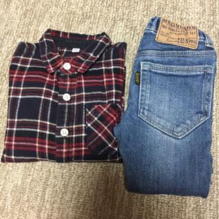 ムジルシリョウヒン(MUJI (無印良品))のちーた様専用!無印 チェックシャツ 100(Tシャツ/カットソー)