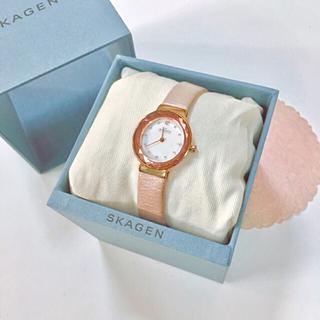 スカーゲン(SKAGEN)のSKAGEN レディース本革クリスタルカット腕時計 ピンクゴールド(腕時計)