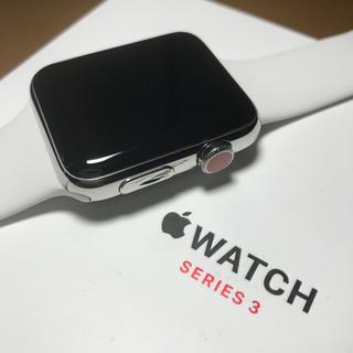 アップルウォッチ(Apple Watch)の美品 Apple Watch series3 セルラー 42mm ステンレス (スマートフォン本体)
