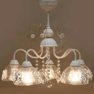 ヨーロピアン シャンデリア ランプ 5灯 ホワイト アンティーク照明 天井照明(天井照明)