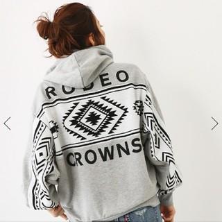 ロデオクラウンズワイドボウル(RODEO CROWNS WIDE BOWL)の大好評♪お買い得!RCWBニット切換スウェットビッグパーカーグレーフリーサイズ(パーカー)