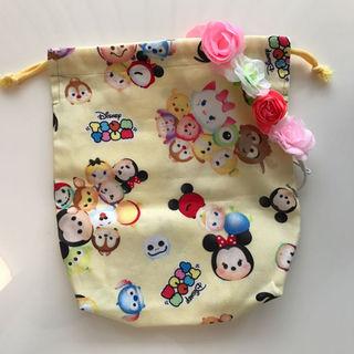 ベビーギャップ(babyGAP)の新品 ディズニーツムツム巾着袋 ハンドメイド お名前シール付き(カバーオール)