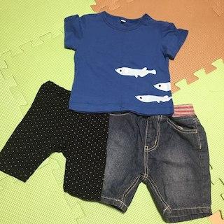 ムジルシリョウヒン(MUJI (無印良品))の無印良品 80cm 動物Tシャツ&ボトムスセット 美品!(その他)