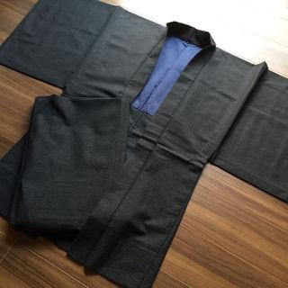 ★和装着物「紳士用 羽織&着物」シンプルな紺地模様・昭和レトロ♪ 中古美品♪★(着物)