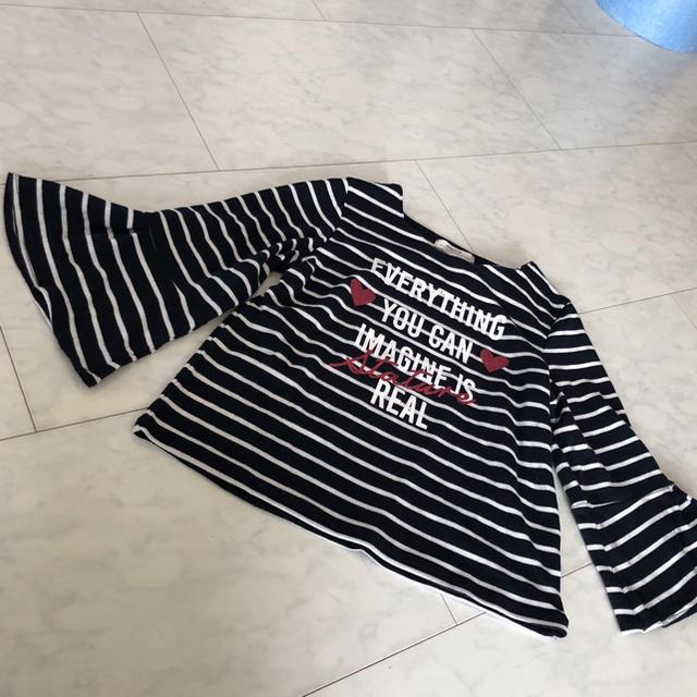 しまむら(シマムラ)の袖フリル カットソー 150 キッズ/ベビー/マタニティのキッズ服 女の子用(90cm~)(Tシャツ/カットソー)の商品写真