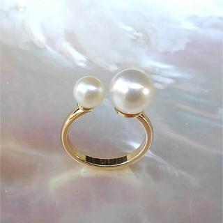 ダブルパール リング(9mm+6.4mm・あこや真珠)(リング(指輪))
