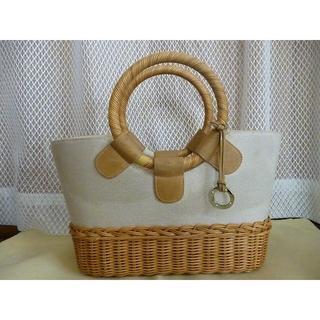 ヨンドシー(4℃)の4℃ ハンドバッグ キャンバス &籐かご ベージュ 系 #13(ハンドバッグ)
