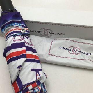シャネル(CHANEL)の折り畳み傘 箱付 エアライン シャネル デザイン モチーフ ブルー 飛行機(傘)