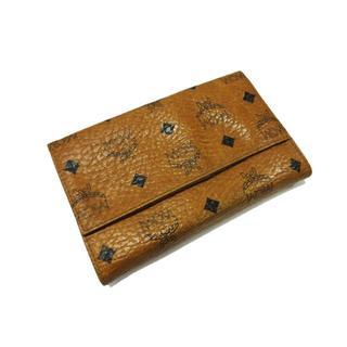 エムシーエム(MCM)のMCM エムシーエム 長財布 二つ折り ロゴグラム がま口 レザー 茶(財布)