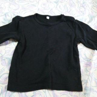 ムジルシリョウヒン(MUJI (無印良品))の黒 あったか長そでTシャツ サイズ 90(その他)