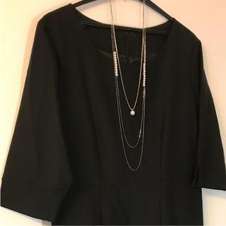 トランスワーク(TRANS WORK)の黒フォーマル七分袖ワンピースとジャケットブラウス(礼服/喪服)