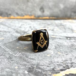 ヴィンテージフリーメイソンブラックストーンリング(リング(指輪))
