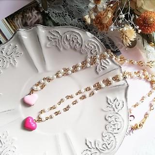 濃いピンク ぷっくりハート パールチェーンネックレス(ネックレス)