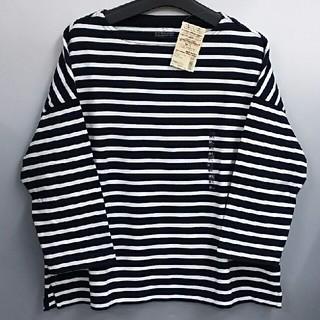 ムジルシリョウヒン(MUJI (無印良品))の新品  無印良品 ドロップショルダーTシャツ・ネイビーx白(シャツ/ブラウス(長袖/七分))