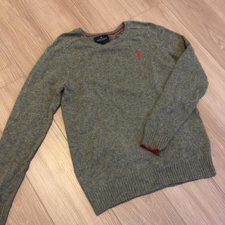 アメリカンイーグル(American Eagle)のアメリカンイーグル ニット セーター ワンポイント グレー メンズ(ニット/セーター)