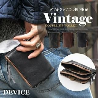 ディバイス(device.)のDEVICE ダブルジップ二つ折り財布  DPL70058 ダークブラウン(折り財布)