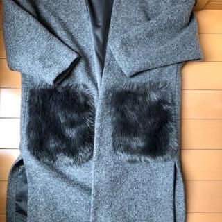 ジーユー(GU)のGU ジーユー ノーカラー ファーポケット 羽織コート Sサイズ グレー(ガウンコート)