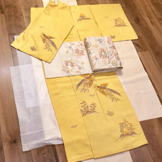 ミツコシ(三越)の正絹 付け下げ 着物 上質 高級 黄色 イエロー 訪問着 卒業式 入学式(着物)