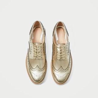 ザラ(ZARA)の完売品 ザラ 新品 ゴールド プラットフォーム ブルーチャー シューズ ブーツ(ローファー/革靴)
