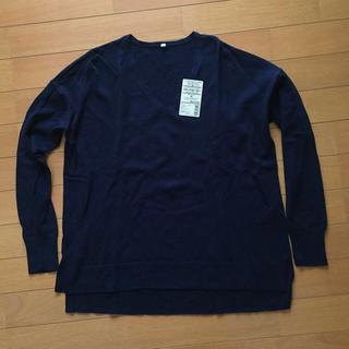 ムジルシリョウヒン(MUJI (無印良品))の無印良品 オーガニックコットンシルクVネックセーター ネイビー Mサイズ(ニット/セーター)