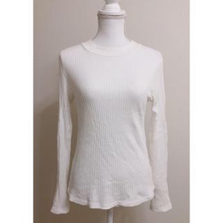 ジーユー(GU)のGUジーユーリブハイネックプルオーバーカット長袖ホワイト白インナー(Tシャツ(長袖/七分))
