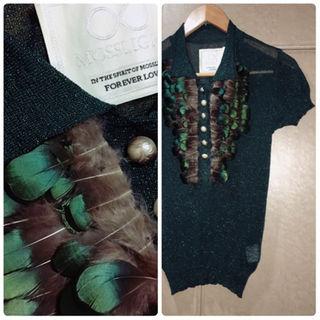 レアMUVEIL前身ブランド廃盤MOSSLIGHTパールフェザーニットポロシャツ(ポロシャツ)
