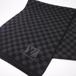 ルイヴィトン(LOUIS VUITTON)のLOUIS VUITTON ルイヴィトン ダミエ ブラック ウール ロゴ 正規(マフラー)