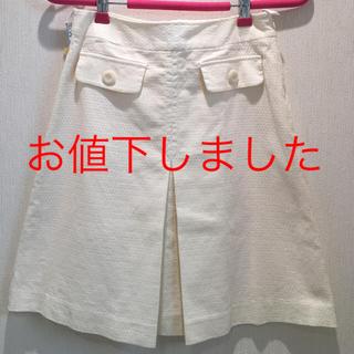 プーラフリーム(pour la frime)の☆お値下げしました☆pourlafrime ボックスプリーツ白スカート(ミニスカート)