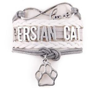 ペルシャ ペルシャ猫チャームブレスレット♪ ホワイト 新品未使用品 送料無料(猫)