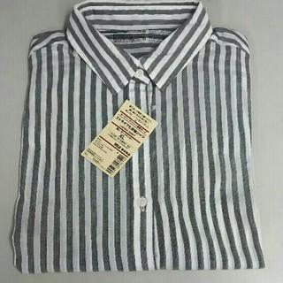 ムジルシリョウヒン(MUJI (無印良品))の新品 無印良品 ストライプ七分袖シャツ・ダークネイビー・XL(シャツ/ブラウス(長袖/七分))